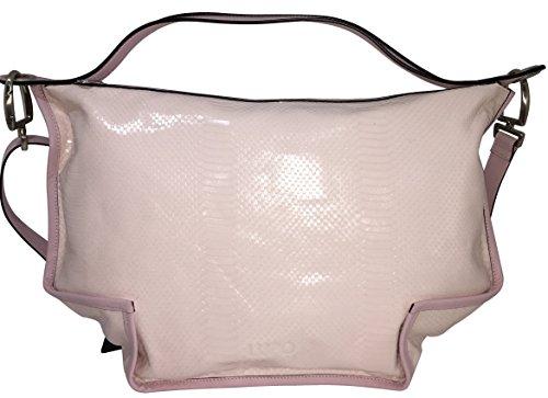 LUPO Barcelona Ladies Bag Snakeskin Print on Light Pink Genuine Calfskin Patent Leather Square (Barcelona Leather Handbag)