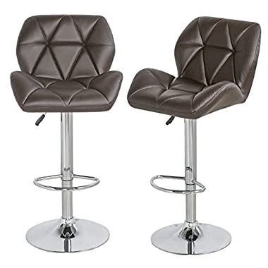 【2016 GREAT SALE】Merax Contemporary Faux Leather Swivel Air Lift Adjustable Café Bar Stools Dinning Chairs , Brown, Set of 2