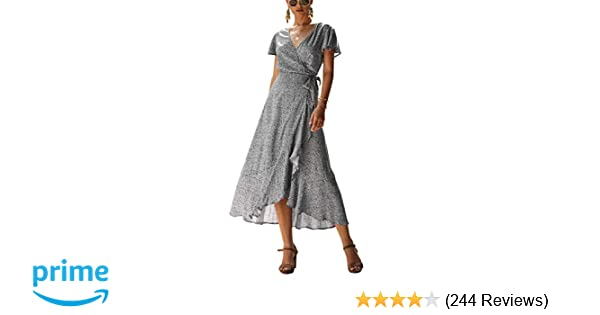 6a54e6bf75c8b PRETTYGARDEN Women's Summer V Neck Wrap Vintage Floral Print Short Sleeve  Split Belted Flowy Boho Beach Long Dress