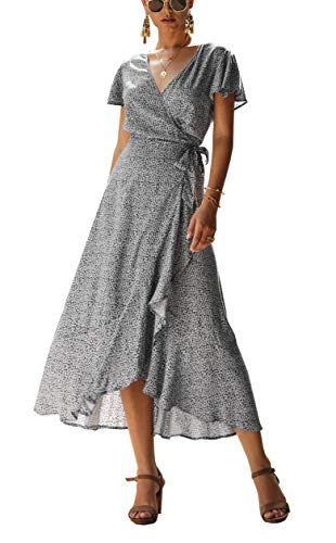 (PRETTYGARDEN Women's Floral Printed Wrap V-Neck Short Sleeves Ruffle Hem Elegant Maxi Dress with Belt)