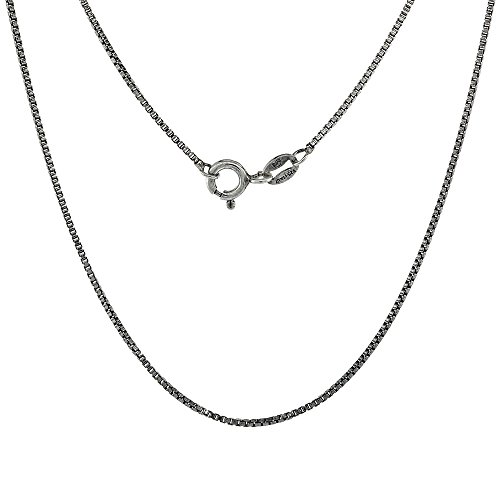 Chain Oxidized Box Necklace - Sterling Silver 1mm Box Chain Necklace Antiqued Finish Nickel Free Italy, 18 inch