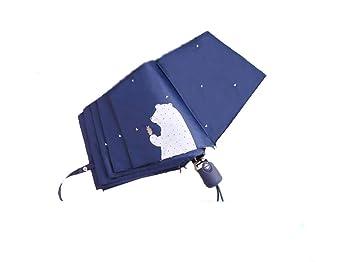 QXX Automatic Opening Umbrella Female Folding Small Fresh Sun Rain Dual-use Lightweight Portable Sun Umbrella Color : Pine Bear Blue