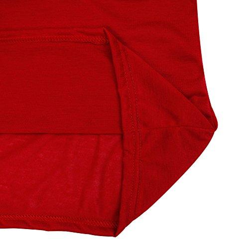 shirt Solide Blouse Epaule CHIC CHIC Taille Nue Manche Longue Casual Grande T Haut Rouge Femmes Fille gxgTPwpz