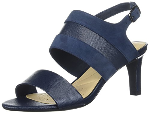 CLARKS Women's Laureti Joy Pump, Navy Combi Suede, 8.5 Medium US