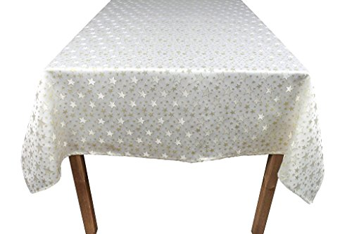 Lovein Tablecloth Christmas Decorative Beige&Gold Stars Pattern Polyester Jacquard Fabric Tablecloth for Kitchen Dinning Parties(60 x 84-Inch Table Cover ) (Christmas Star Pattern)