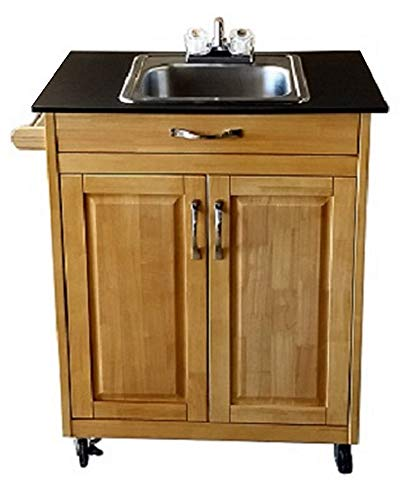 Single Basin Portable Sink – Wood Cabinet Model PSW - 009S