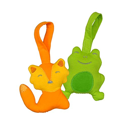 green sprouts Adventure Friends made from Organic Cotton (2 pack) | Encourages whole learning the healthy & natural way | Attachable strap for strollers, car seats & cribs, Playful crinkle sound (Car Seat Toys Organic)