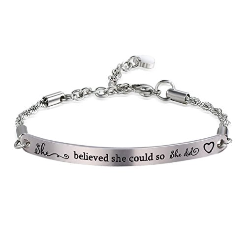 AISHOW Inspirational Engraved Message Bracelet Adjustable Premium Stainless Steel Motivational Quote Bar Bracelet Gift for Women Girl Sister Mother Friends (Silver-She Believed She Could) by AISHOW