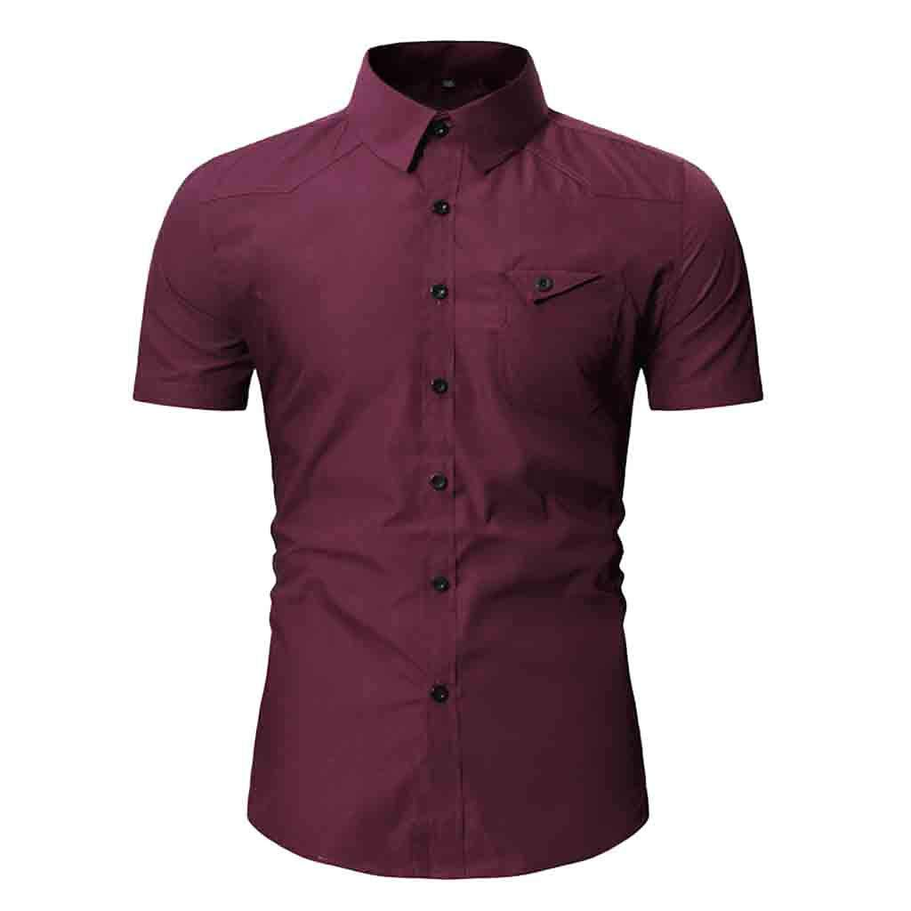 NUWFOR Fashion Men's Button Personality Pocket Short Sleeve T-Shirt Blouse Tops(Red,M US Chest:40.16''