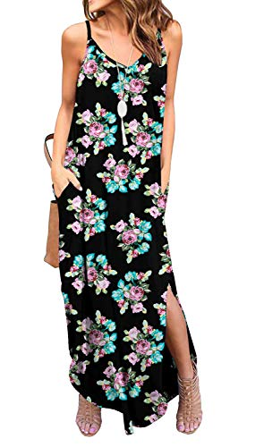 GRECERELLE Women's Summer Casual Loose Dress Spaghetti Strap Beach Cover Up Long Cami Floral Print Casual Maxi Dresses with Pocket FP Small Flower Black-L