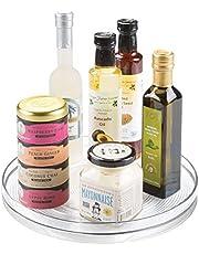 InterDesign Linus Spice Carousel, Herb Rack for Storing Spice Jars, Plastic, Clear, Large, 28 cm