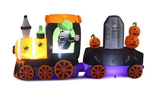 8 Ft Inflatable Scary Halloween Train with a Skeleton, Spiders, Bats, RIP Sign and Pumpkins