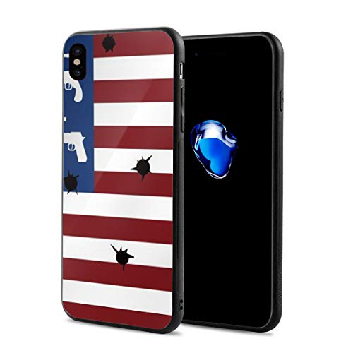 LeYue iPhone Xs/X Case, American Flag Guns and