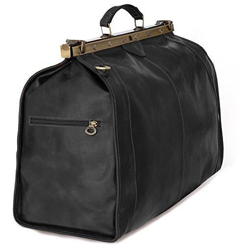 Vintage Italienische Echt Geöltes Leder Arzttasche, Reisetasche, XXL Wochenendetasche Hergestellt in Italien. Schwarz