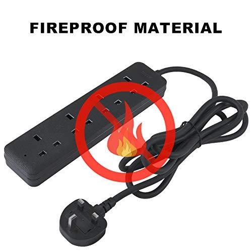 Extension Socket 4 Way 2m Black Power Cord