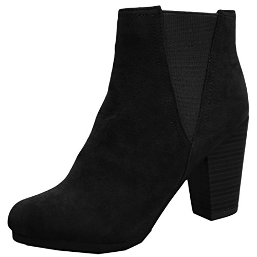 Breckelles Womens Sueded Elastic Panel Inner Zip Chunky Heel Bootie Black 0ohaT