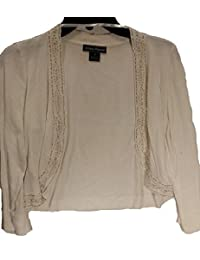 Ivory Open-front Sweater with Silver and Pearl Beaded Edges JH2M8859