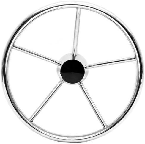 SeaLux Marine 13-1//2 Inch 5-spoke Destroyer Style Stainless Boat Steering Wheel-25 Degree Dish