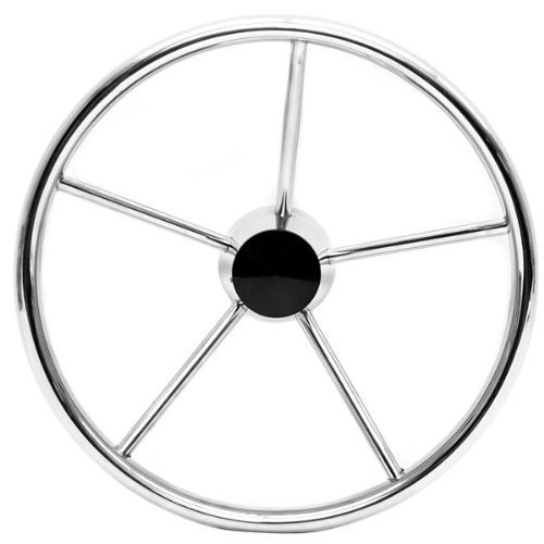 SeaLux Marine Boat 15-1/2 Inch 5-spoke Destroyer Style Stainless Boat Steering Wheel-25 Degree Dish by SeaLux Marine Products