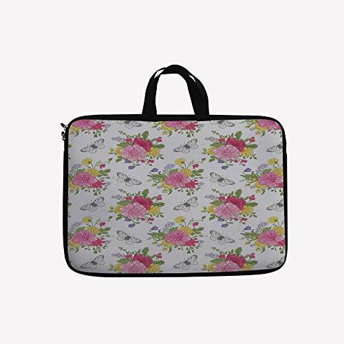 Red Pea Designs Sweet (3D Printed Double Zipper Laptop Bag,Sweet Peas Bell Colorful Bouquet Butterflies,10 inch Canvas Waterproof Laptop Shoulder Bag Compatible with 9.7