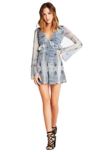 Paisley Print Bell - BCBGeneration Vintage Paisley Print Bell-Sleeve Romper (2, Tempest Multi)