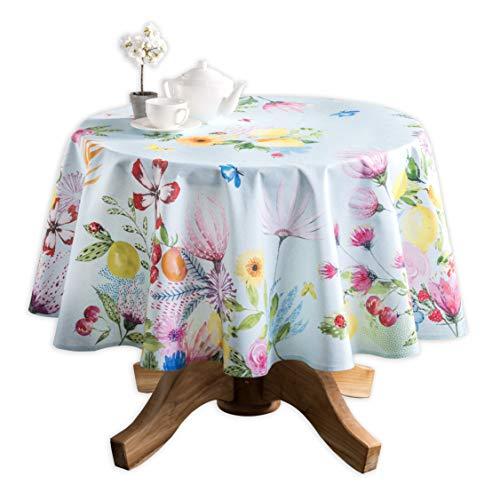 (Maison d' Hermine Jardin D'Ete 100% Cotton Mint Tablecloth 63 Inch Round )