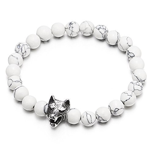 COOLSTEELANDBEYOND Mens Boys 8MM White Gem Stones Bracelet with Stainless Steel Wolf Head Charm, Stretchable by COOLSTEELANDBEYOND