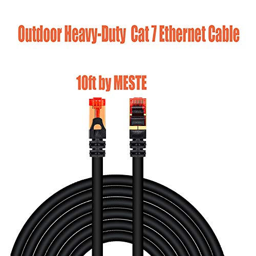 MESTE Outdoor Heavy Duty Cat 7 Ethernet Cable 10FT,Waterproof Ethernet Cable High Speed LAN Network Patch Cable Cord Gold-Plated RJ45 Connector IP Cameras,Ethernet Printer, Switch POE