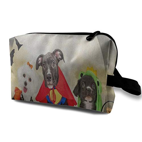 Toiletry Bag Cosmetic Pouch Travel Bag Hipster Puppy Dog Dressed In Halloween Costumes Makeup Bags For Women -