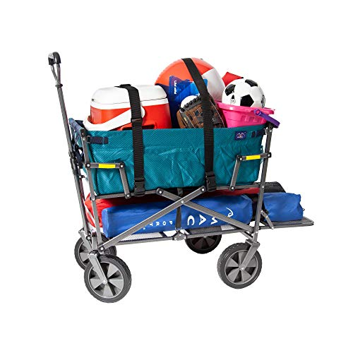 Mac Sports Double Decker Collapsible Outdoor Utility Wagon with Straps | Folding Pull Cart, for Sports Baseball Pool Camping Fishing, Collapsable Fold up Wagon with Wheels, Heavy Duty Steel, Teal by Mac Sports (Image #6)