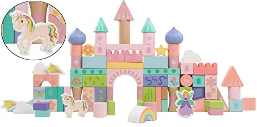 (CheeToys Fairy Tale Kingdom Color Wooden Blocks for Girls 80-Piece Unicorn & Fairy Building Block Set in Storage Drum for Preschooler)