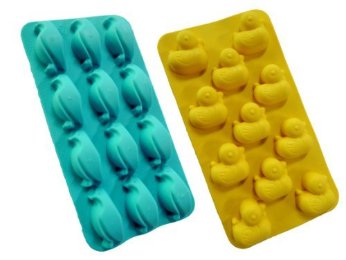 HotEnergy Cute Animal Duck & Penguin Shape Silicone Ice Tray Maker Mold,Set 2