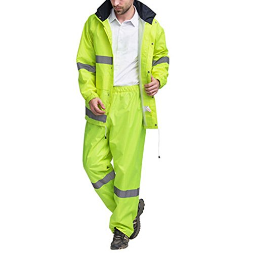Joyutoy High Visibility Polyester Safety Reflective Rain Jacket Safety Suit Waterproof-All Weather, Construction, Motorcycle (Neon yellow, ()
