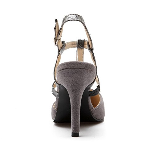 VogueZone009 Women's Open Toe Buckle Imitated Suede Assorted Color Spikes Stilettos Sandals Gray 2edEPz