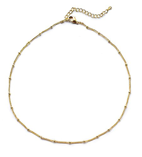 - JANE STONE Women's Choker Necklace in 14K Gold Dipped or Sterling Silver: Satellite Beaded Curb Chain 1mm Minimalist Necklaces for Charity (13