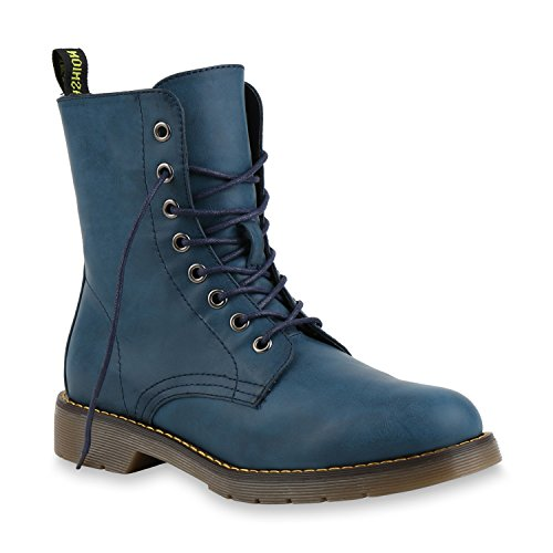 Damen Stiefeletten Schnürstiefeletten Lack Plateau Boots Profilsohle Leder-Optik Worker Boots Zipper Blumen Übergrößen Flandell Blau