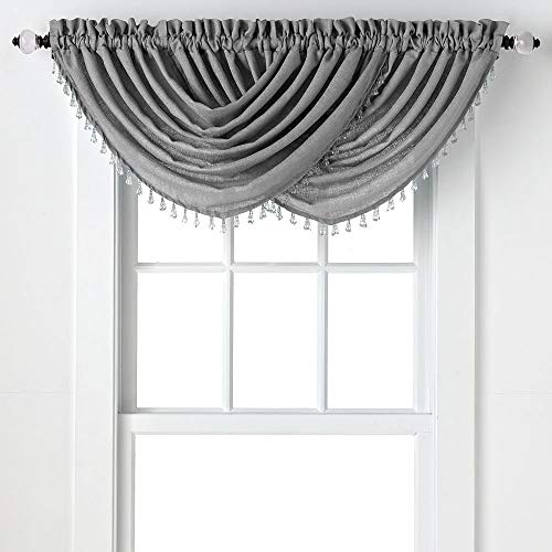 Regal Home Collections 2-Pack: Beaded Emerald Crepe Waterfall Valances - Assorted Colors (Platinum)
