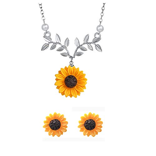S-WAY Hypoallergenic Sunflower Pearl Leaf Chain Resin Boho Handmade Drop Pendant Necklace Plated Sunflower Resin Earring Set (Leaf-Silver)