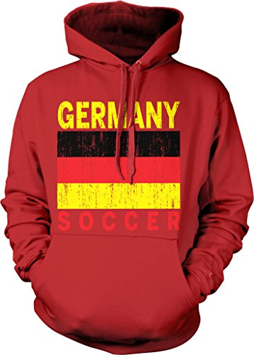 Germany Soccer, German Flag, Fussball-Bund Hooded Sweatshirt, NOFO Clothing Co. XXL Red