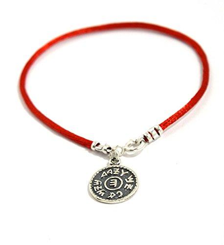 MIZZE Made for Luck Red String Prosperity Sterling Silver Solomon Seal Charm Bracelet for Women