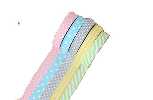 Qingsun 5 Rolls Single Face Polka Dot Pattern Printed Cotton Ribbon Adhesive Tape 38mm Width Mixed Color (Adhesive Printed Ribbon)