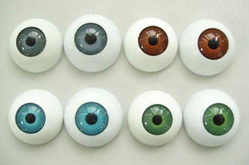 Prettyia 4 Pairs Plastic Eyeballs, Half Round Hollow Fake Eyes for Craft, Doll Bear Making, Kids Art Projects, Halloween Props, Embellishment - 1 inch Diameter -