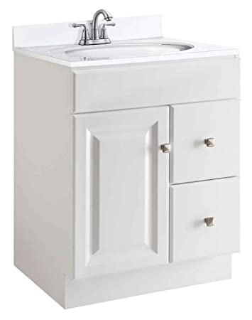 Design House 545053 Wyndham White Semi Gloss Vanity Cabinet With 1 Door And  2