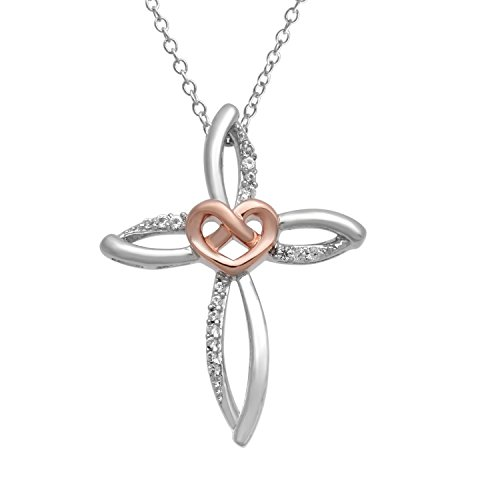 """Jewelili 14K Rose Gold Over Sterling Created White Sapphire Cross Pendant Necklace,18"""""""