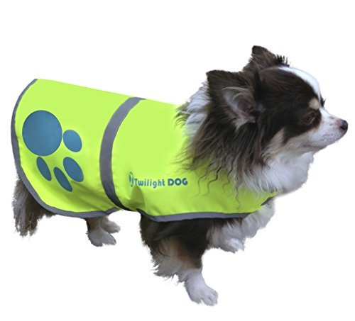Twilight Dog Waterproof Florescent Reflective Dog Safety Vest with Adjustable Strap, Small (Paw Prints Tzu Shih)