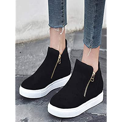YiYLunneo Sneakers Hidden Wedge for Women Flat Casual Soft Zipper Single Shoes Plus Size Booties Students Running Shoes