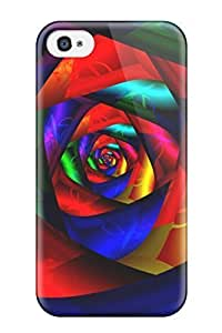 Durable Defender Case For Iphone 4/4s Tpu Cover(colorful Rose)