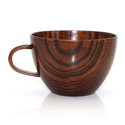- Geeklife Natural Jujube Wood Big Coffee Mugs,Japanese Wood Soup Bowls,Handcraft Beer Mugs with Handle,Scald-proof,Safe and Eco-friendly,400 ml (Brown)