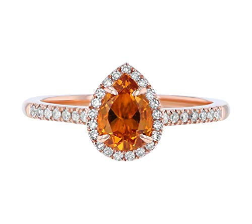 Olivia Paris 14K Rose Gold Pear Shape Citrine & Diamond Vintage Engagement Ring
