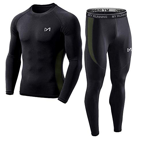 (Men's Base Layer, Cool Dry Long Sleeve Compression Set, Sport Long Johns Gym Fitness Running Underwear Shirt and Pants (Black, M))